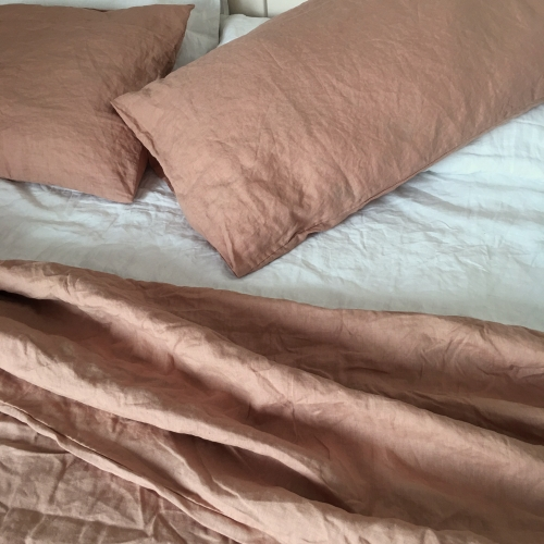 LY-LP01 Terracotta luxury pure french flax linen stone washed bedding