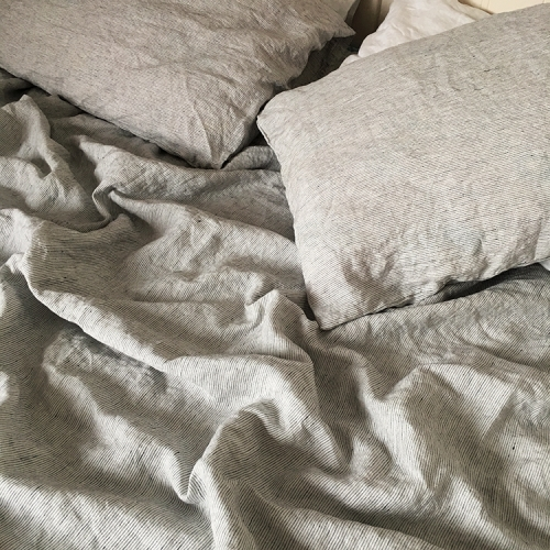 LX-LP01 Pinstripe stone washed 100% Flax Linen Bedding Set