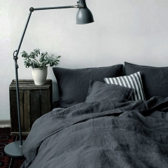 LY black charcoal color 100% linen sheets with stone washed finish